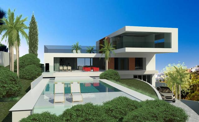 34906 spectacular modern design villa with 180 sea and for Modern minimalist villa
