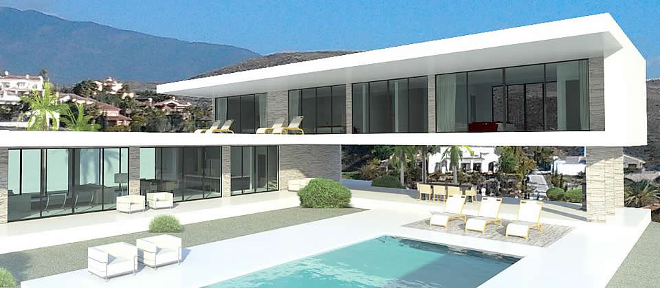 Glass house los flamingos for Modern minimalist villa